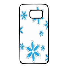 Star Flower Blue Samsung Galaxy S7 Black Seamless Case by Mariart