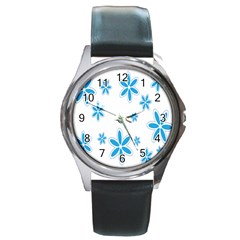 Star Flower Blue Round Metal Watch by Mariart
