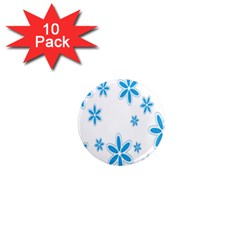 Star Flower Blue 1  Mini Magnet (10 Pack)  by Mariart