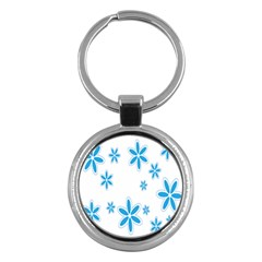 Star Flower Blue Key Chains (round)  by Mariart