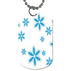 Star Flower Blue Dog Tag (two Sides) by Mariart