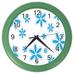 Star Flower Blue Color Wall Clocks by Mariart