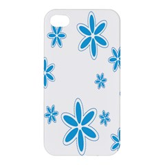 Star Flower Blue Apple Iphone 4/4s Premium Hardshell Case by Mariart