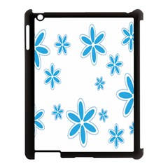 Star Flower Blue Apple Ipad 3/4 Case (black) by Mariart