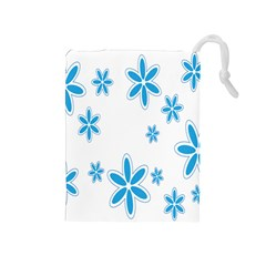 Star Flower Blue Drawstring Pouches (medium)  by Mariart