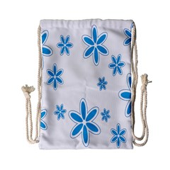 Star Flower Blue Drawstring Bag (small) by Mariart