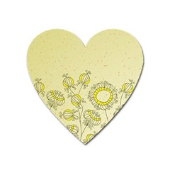 Sunflower Fly Flower Floral Heart Magnet by Mariart