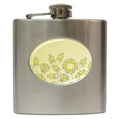 Sunflower Fly Flower Floral Hip Flask (6 Oz) by Mariart