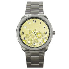 Sunflower Fly Flower Floral Sport Metal Watch by Mariart