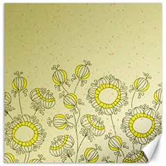 Sunflower Fly Flower Floral Canvas 16  X 16   by Mariart