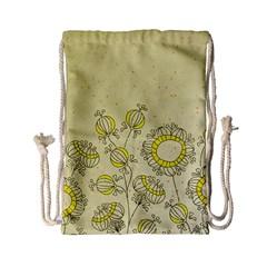 Sunflower Fly Flower Floral Drawstring Bag (small) by Mariart