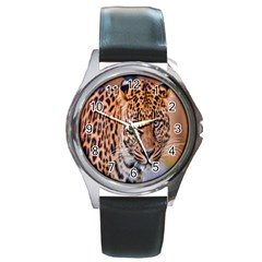 Tiger Beetle Lion Tiger Animals Leopard Round Metal Watch by Mariart