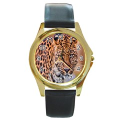 Tiger Beetle Lion Tiger Animals Leopard Round Gold Metal Watch by Mariart