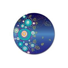 Flower Blue Floral Sunflower Star Polka Dots Sexy Magnet 3  (round) by Mariart