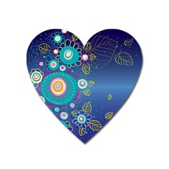 Flower Blue Floral Sunflower Star Polka Dots Sexy Heart Magnet by Mariart