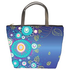 Flower Blue Floral Sunflower Star Polka Dots Sexy Bucket Bags by Mariart