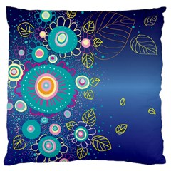 Flower Blue Floral Sunflower Star Polka Dots Sexy Large Cushion Case (two Sides) by Mariart