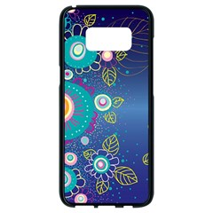 Flower Blue Floral Sunflower Star Polka Dots Sexy Samsung Galaxy S8 Black Seamless Case by Mariart