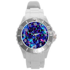 Dark Neon Stuff Blue Red Black Rainbow Light Round Plastic Sport Watch (l) by Mariart