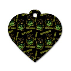 Pattern Halloween Witch Got Candy? Icreate Dog Tag Heart (two Sides)