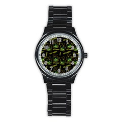 Pattern Halloween Witch Got Candy? Icreate Stainless Steel Round Watch by iCreate