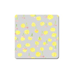 Cute Fruit Cerry Yellow Green Pink Square Magnet by Mariart