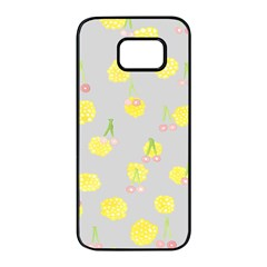 Cute Fruit Cerry Yellow Green Pink Samsung Galaxy S7 Edge Black Seamless Case by Mariart