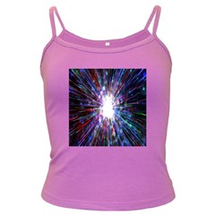 Seamless Animation Of Abstract Colorful Laser Light And Fireworks Rainbow Dark Spaghetti Tank