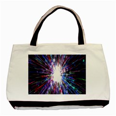 Seamless Animation Of Abstract Colorful Laser Light And Fireworks Rainbow Basic Tote Bag by Mariart