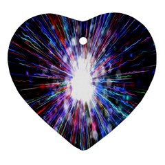 Seamless Animation Of Abstract Colorful Laser Light And Fireworks Rainbow Heart Ornament (two Sides)