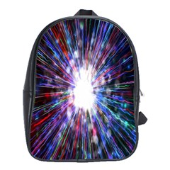 Seamless Animation Of Abstract Colorful Laser Light And Fireworks Rainbow School Bag (large)