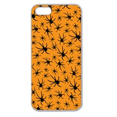 Pattern Halloween Black Spider Icreate Apple Seamless Iphone 5 Case (clear) by iCreate