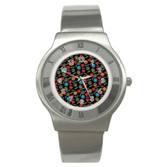 Pattern Halloween Peacelovevampires  Icreate Stainless Steel Watch by iCreate