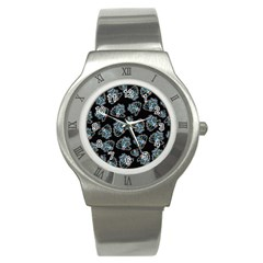 Pattern Halloween Zombies Brains Stainless Steel Watch by iCreate
