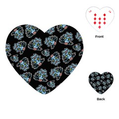 Pattern Halloween Zombies Brains Playing Cards (heart)  by iCreate