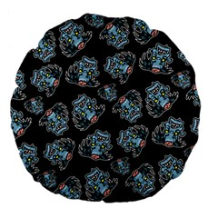Pattern Halloween Zombies Brains Large 18  Premium Flano Round Cushions by iCreate