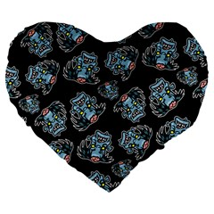 Pattern Halloween Zombies Brains Large 19  Premium Flano Heart Shape Cushions by iCreate