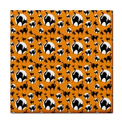 Pattern Halloween Black Cat Hissing Tile Coasters by iCreate