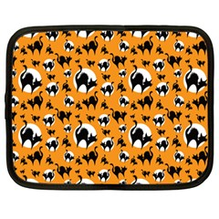 Pattern Halloween Black Cat Hissing Netbook Case (large) by iCreate