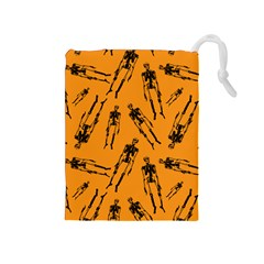 Halloween Skeletons  Drawstring Pouches (medium)  by iCreate