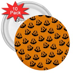 Halloween Jackolantern Pumpkins Icreate 3  Buttons (10 Pack)  by iCreate