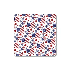 Peace Love America Icreate Square Magnet by iCreate