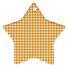 Friendly Houndstooth Pattern, Orange Ornament (star) by MoreColorsinLife