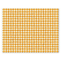 Friendly Houndstooth Pattern, Orange Rectangular Jigsaw Puzzl by MoreColorsinLife