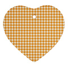 Friendly Houndstooth Pattern, Orange Heart Ornament (two Sides) by MoreColorsinLife