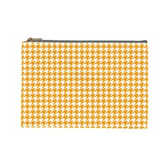 Friendly Houndstooth Pattern, Orange Cosmetic Bag (large)  by MoreColorsinLife