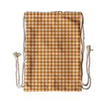 Friendly Houndstooth Pattern, Orange Drawstring Bag (Small) Front