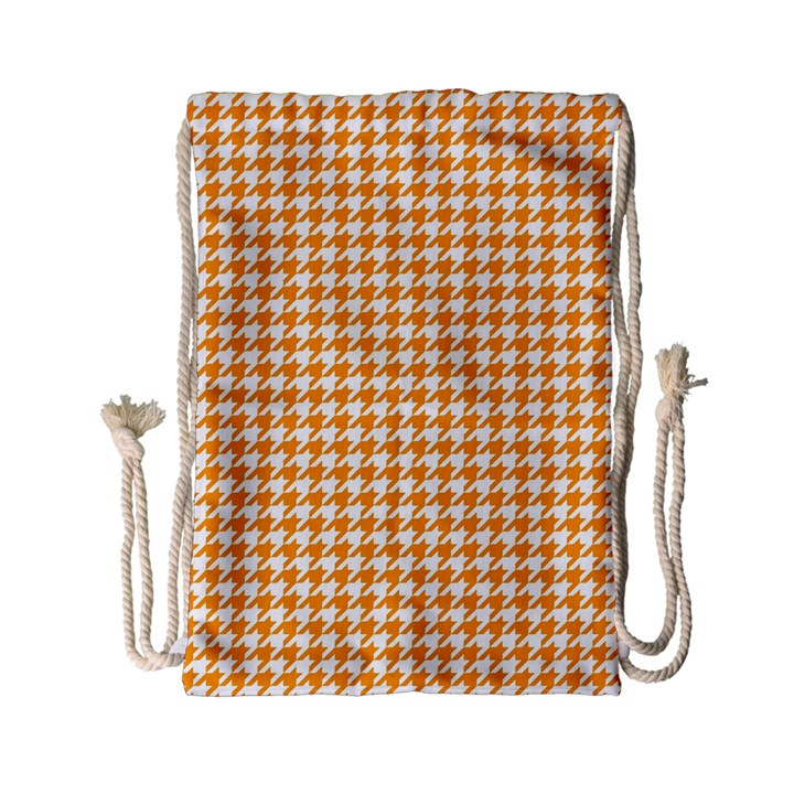 Friendly Houndstooth Pattern, Orange Drawstring Bag (Small)