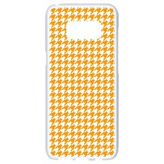 Friendly Houndstooth Pattern, Orange Samsung Galaxy S8 White Seamless Case by MoreColorsinLife