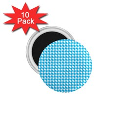 Friendly Houndstooth Pattern,aqua 1 75  Magnets (10 Pack)